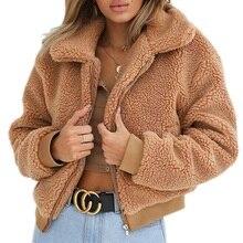 Winter Elegant Women Thick Teddy Bear Pocket Fleece Jacket Warm Coat Zip Up Outw