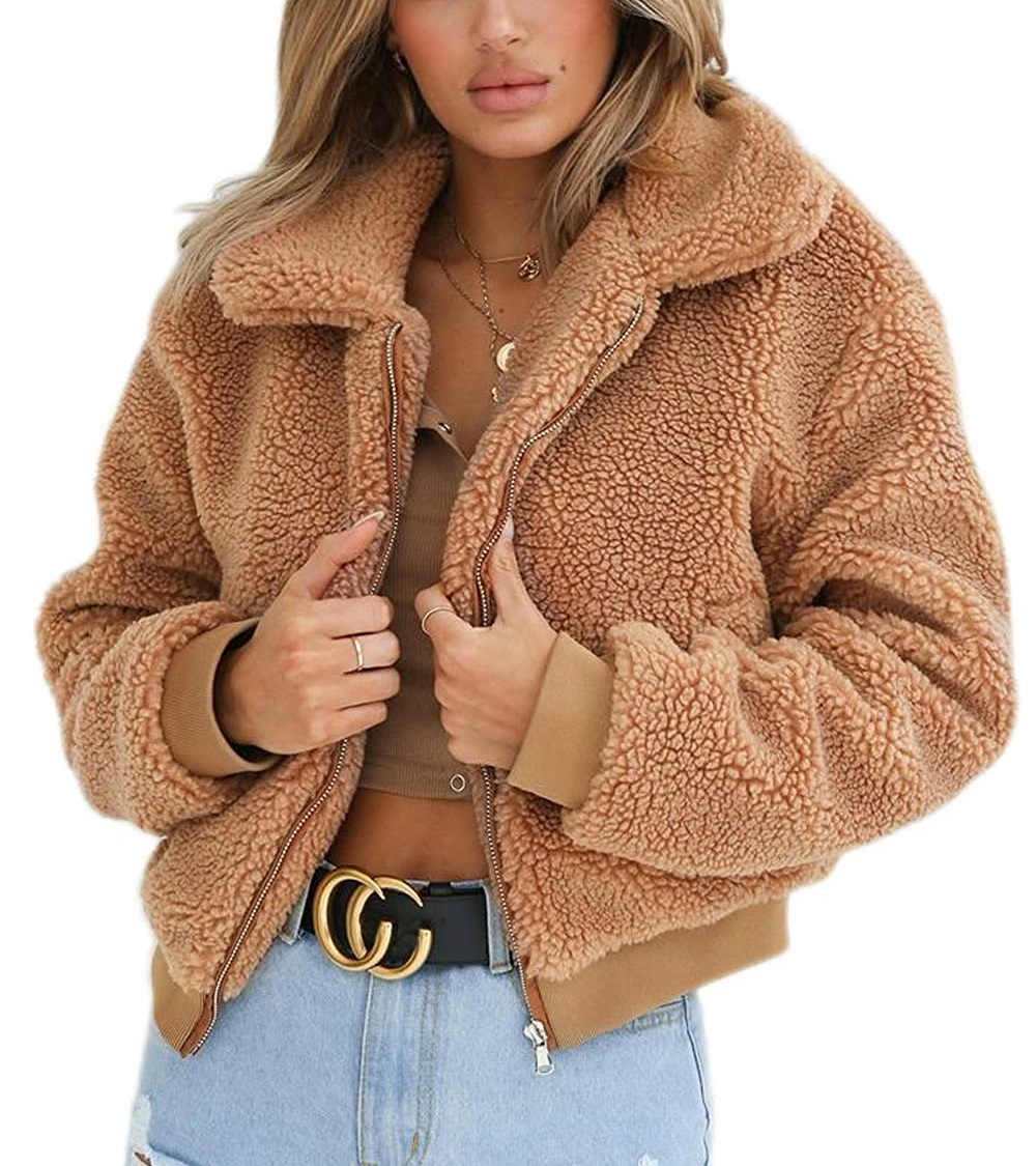 Winter Elegant Women Thick Teddy Bear Pocket Fleece Jacket Warm Coat Zip Up Outwear Overcoat Soft Fur Jacket Female Plush Coat