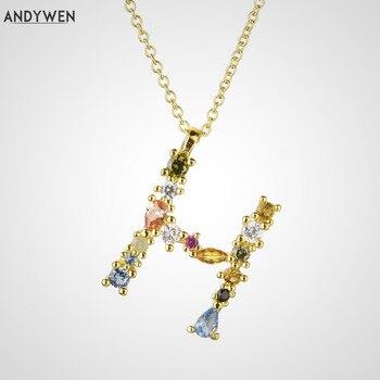 ANDYWEN 925 plata esterlina inicial alfabeto H M Pedent Mini collar fino largo cadena Color ópalos joyería de collares de moda