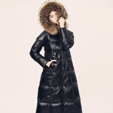 Liva girl Black Glossy Women Winter Jacket Big Fur Collar Winter Coat Women Long Down Parka Lady Hooded Parkas Warm Cotton Jacke(China)