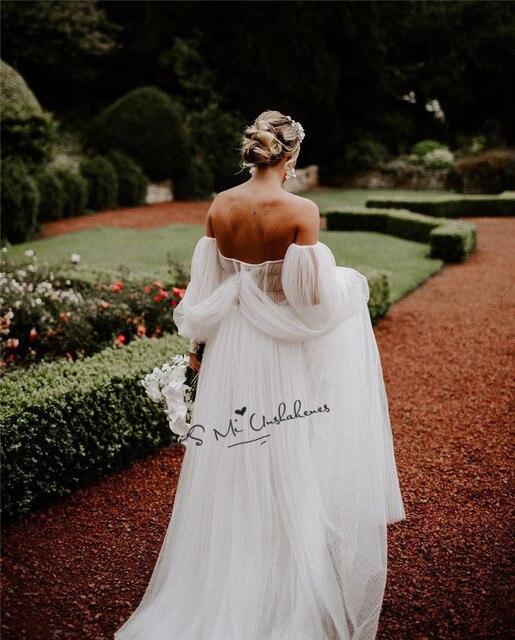 Sexy Open Shoulder Long Puff Sleeve Wedding Dress Vintage Bridal Dresses 2021 Beads A Line Cheap Beach Wedding Gowns Vestidos 2