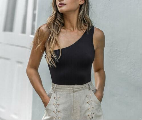 Summer Top Selling Women's One-Shoulder Jumpsuit Bodycon Skinny Jumpsuit Tops Jumpsuit Vest Sleeveless Tops One-piece Briefs