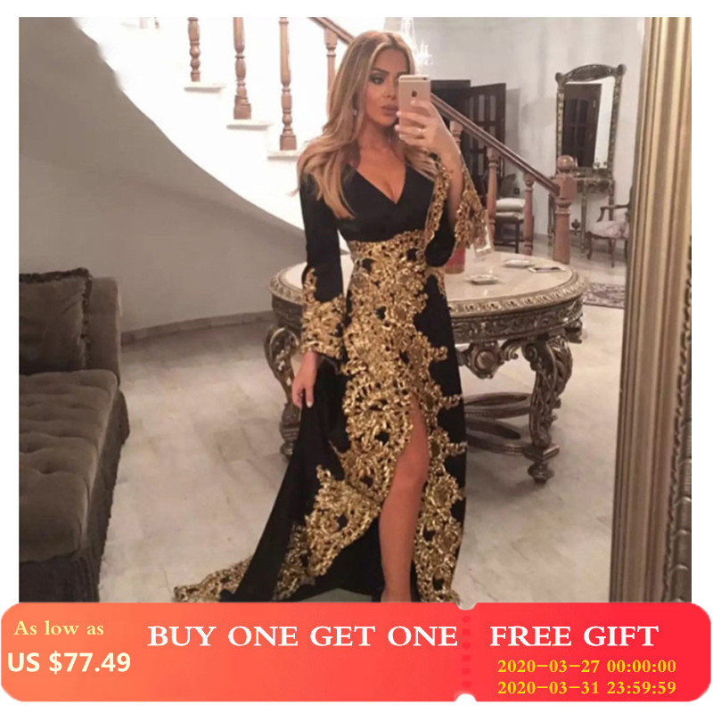 Smileven Black Moroccan Kaftan Evening Dresses Gold Lace Appliques Women Mother Dress Arabic Muslim Special Occasion Dresses