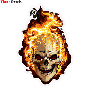 three ratels tz 1950 14x19cm respect for bikers car sticker funny stickers styling removable decal Three Ratels LCS283# 10.8x16cm fire skull colorful car  sticker funny car stickers styling removable decal