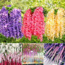 12Pcs Artificial Wisteria Vine Flowers Garland Artificial Plants Wedding Decoration Ivy Wall Fake Plant Rattan Garden Home Decor