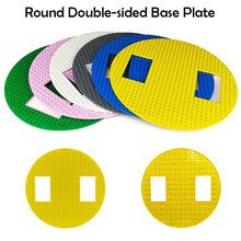 Double-sided Round Baseplate for Parking Lot Crossroad DIY Construction Toy Base Plate Small Bricks ABS Plastic Blocks Kids Gift(China)