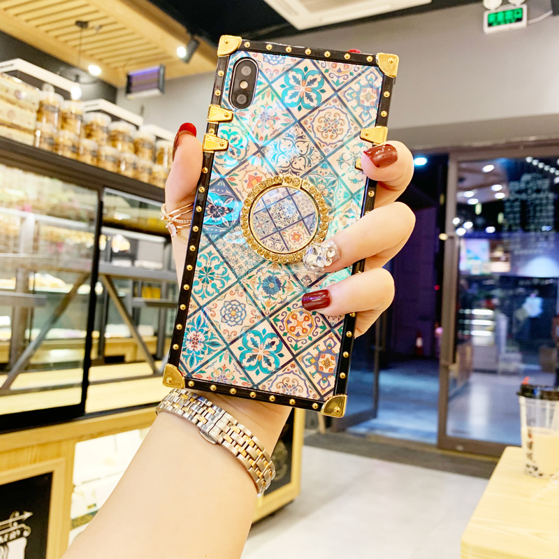 Case For iPhone Xr Xs Max Cover Blue Ray Square Rivet Chinese Style Girly Shiny Ring Stand Case For iPhone X Xs 7 8 Plus 6S Case (14)