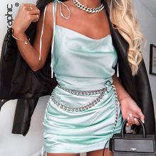Cryptographic Sexy Backless Strap Ruched Womens Dresses Sleeveless Criss Cross Satin Mini 2019 Summer Women