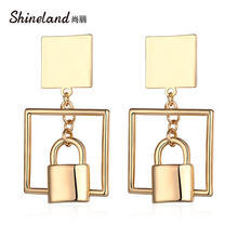 Shineland 2020 Новые висячие серьги золотого цвета с замком