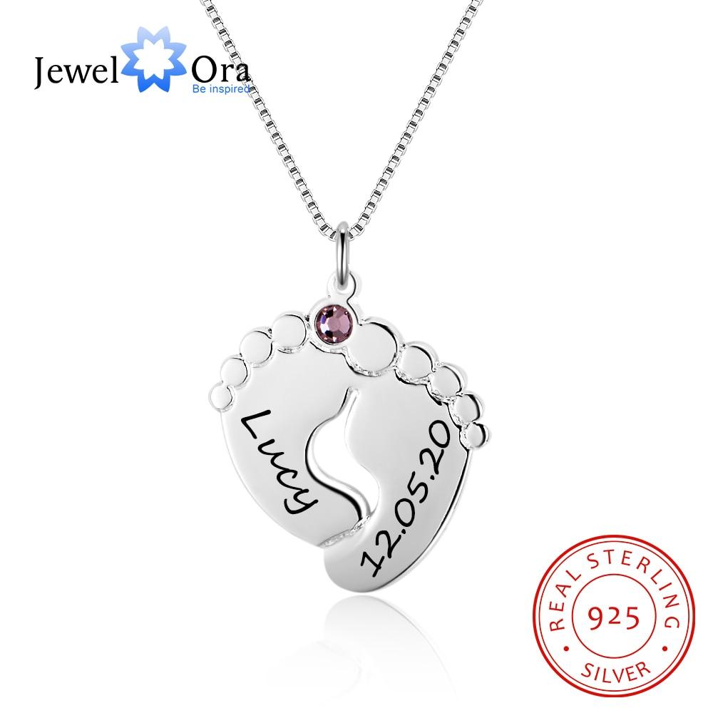 Pés Do Bebê Colar personalizado com Birthstone 925 Sterling Silver Personalizado Nome Colar de Pingente de Presente para a Mãe (JewelOra)