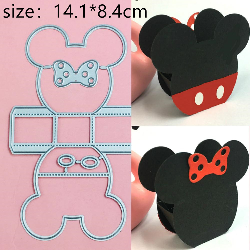 Mickey Minnie Basket Box Metal Cutting Dies Christmas Stencils For DIY Scrapbook Paper Card Decorative Craft Embossing Die Cuts