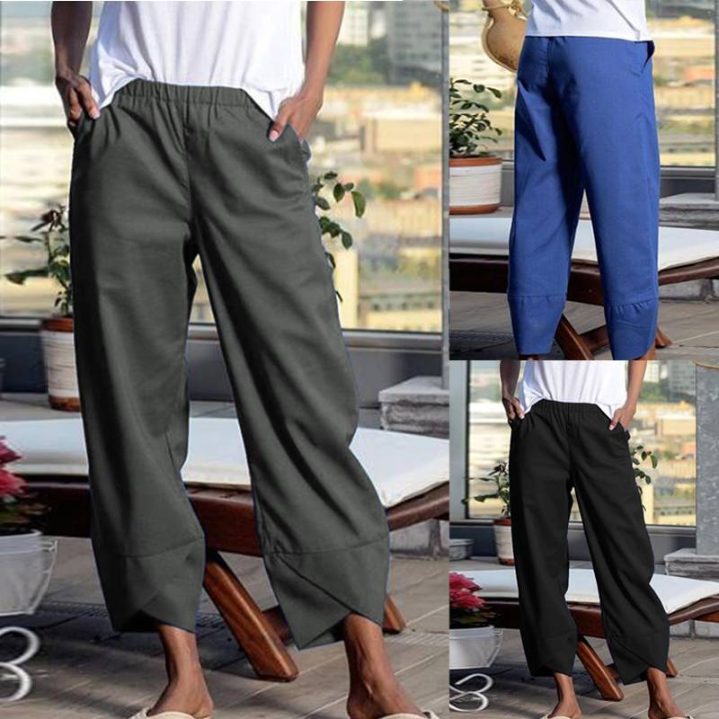 ZANZEA Plus Size Women Casual Asymmetrical Hem Trousers Ladies Solid Cotton Linen Elastic Waist Pants Pockets Pantalones Mujer