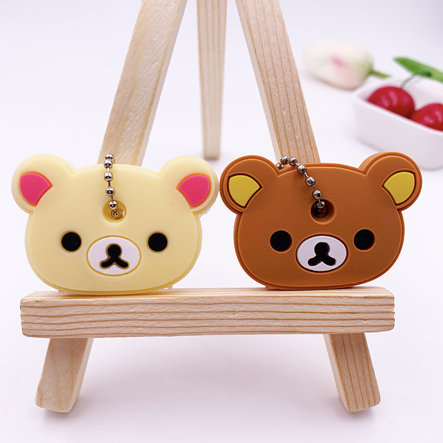 2Pcs/set Cute Cartoon Silicone Protective key Case Cover For key Control Dust Cover Holder Organizer Home Accessories Supplies 4