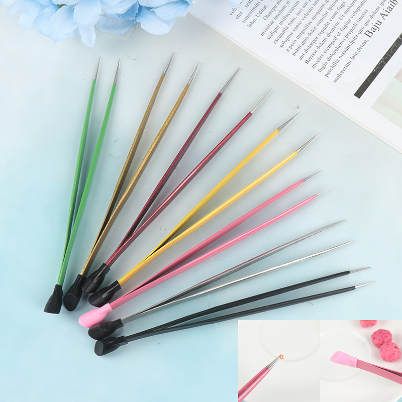 7 Colors for Choose 2 Heads Straight Nail Tweezers With Silicone Pressing Head Metal Nails Tools 1Pc