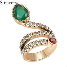 Sitaicery New Top Quality R149 Snake Show Bead Ring Rose Gold Color Austrian Green Crystals Full Sizes Rings For Women Hot Sale zhouyang top quality zyh147 simple and noble rose gold color bracelet jewelry austrian crystals wholesale