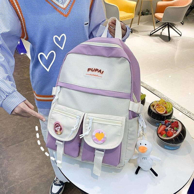 2021 Kawaii Canvas School Backpack Large Capacity Waterproof Solid Student Bag School Supplies Tutorial Bag Korea Stationery