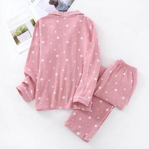 Image 5 - Spring & Autumn New Couples Pajamas Comfort Gauze Cotton Men And Women Sleepwear Star Printed Lovers Homewear Loose Casual Wear