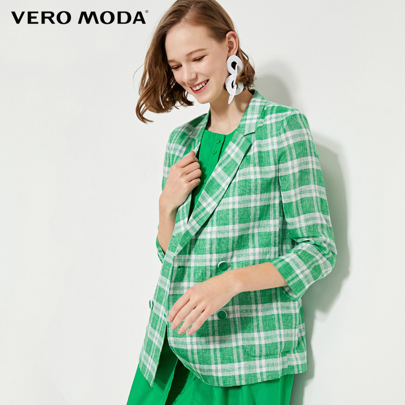 Vero Moda Women's 100% Linen Plaid 3/4 Sleeves Blazer | 319208534