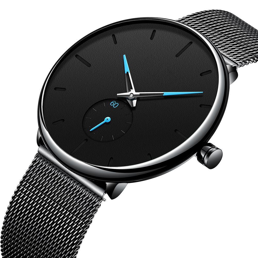 Waterproof Minimalist Men's Fashion Ultra Thin Watches Simple Men Business Thin Mesh Strap Belt Quartz Sports Watch Men Clock