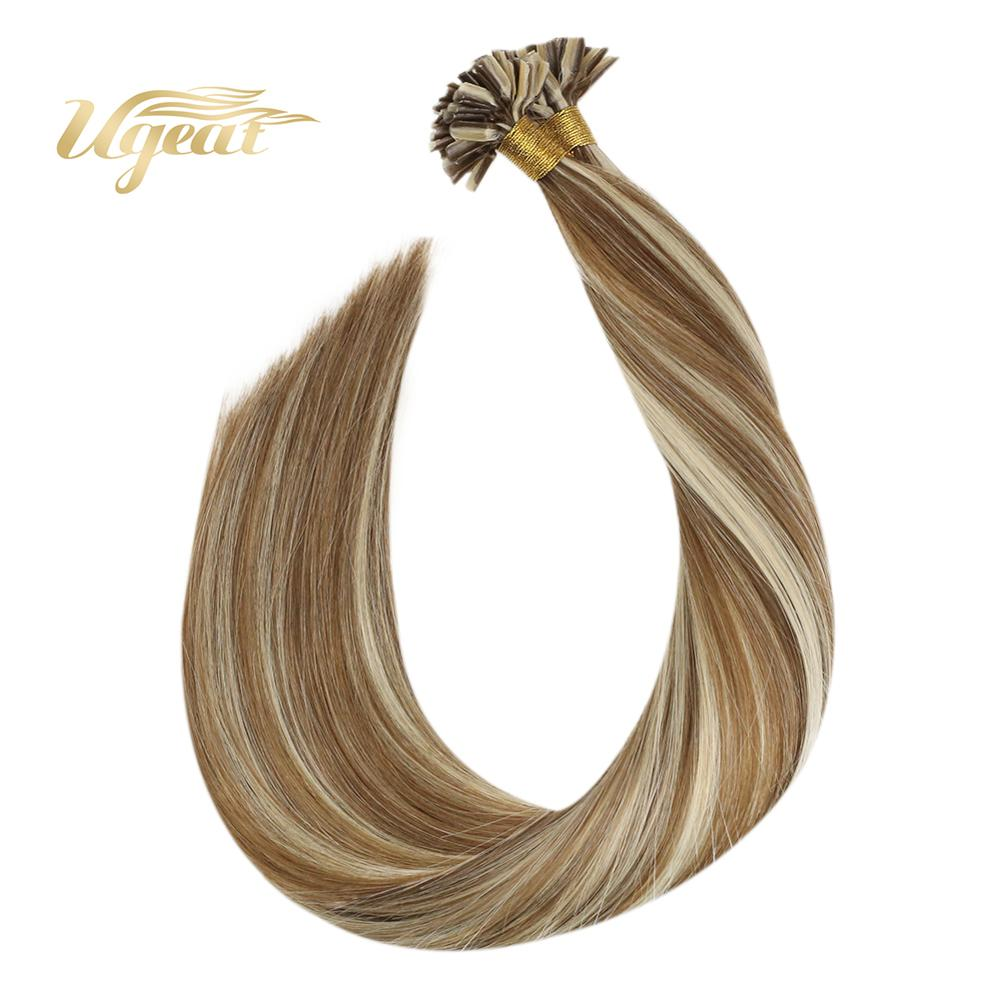 "Ugeat U Tip Hair Extensions Pre-Bonded Human Hair Extension 14-24"" Non-Remy Highlight Blonde Hair Brazilian Human Hair 50S/50G"