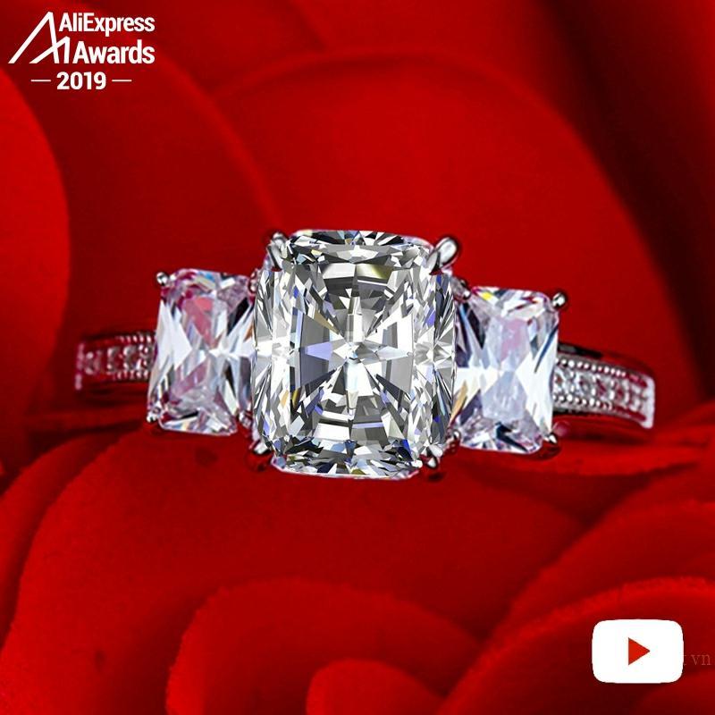 7*9mm S925 bijoux fins bague en argent sterling laboratoire-créé diamant Carat 4Cs proposition de mariage rêve