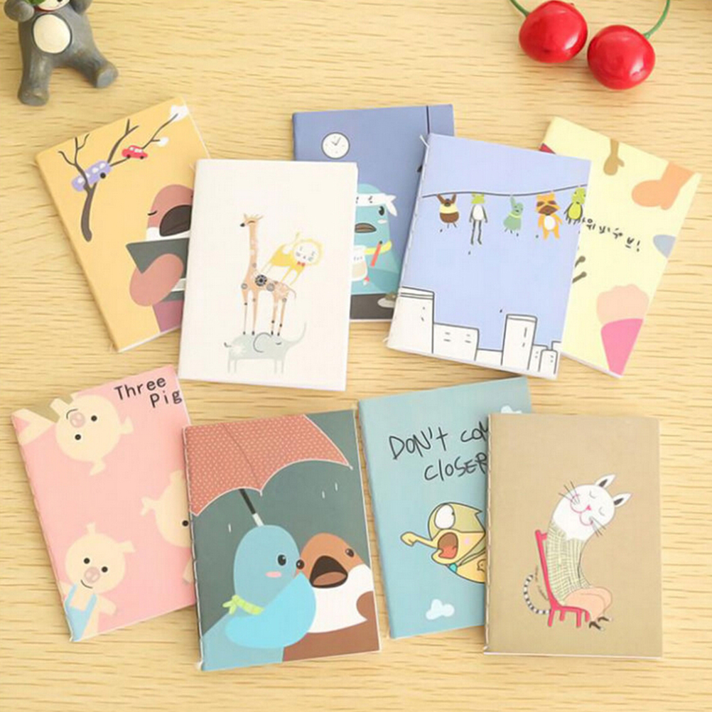 5pcs 20pages/sheet Retro Notepad Book Korean Lovely Cartoon Image Notebook Vintage For Kids Stationery Height:8cm