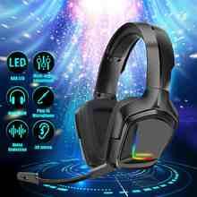 Auriculares K20 RGB para videojuegos, auriculares con micrófono, luz LED Surround, sonido de bajos, auriculares para jugadores de PC, para Xbox One, PS4, ordenador portátil
