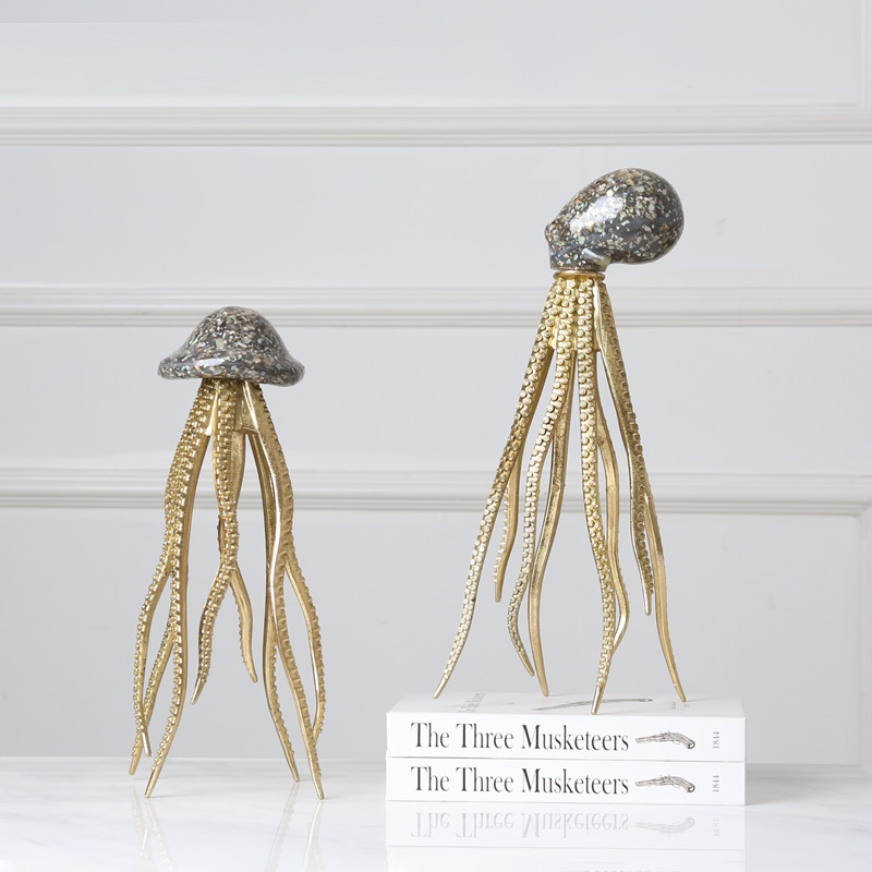 Modern Simple Creative Luxurious Seashell Octopus Art Sculpture Animal Statue Resin Craft American Decorations For Home R3840