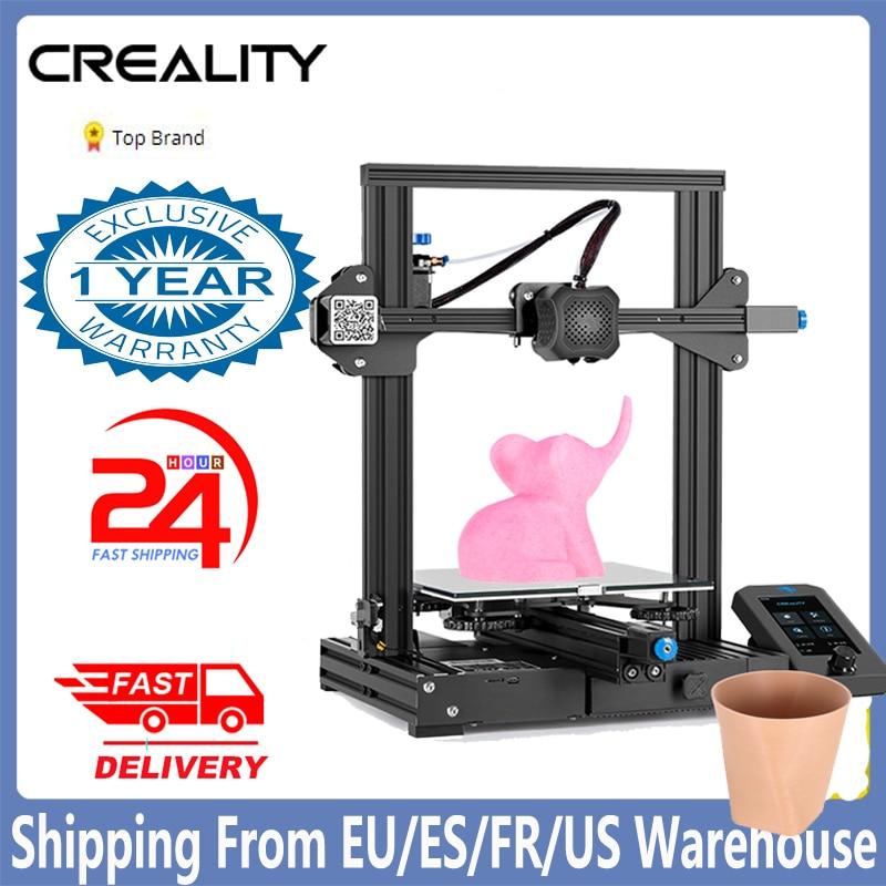 Creality-impresora 3D Ender 3 V2, Kit de bricolaje, placa base silenciosa, nueva pantalla de interfaz de usuario, actualización de Ender 3 pro