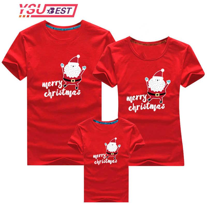 Ropa familiar 2019 estampado de muñeco de nieve de Navidad camiseta para niños mamá y yo ropa madre hija padre familia juego trajes