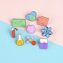 Cartoon Beaker Test Tube Lapel Enamel Pins Cute Molecular element model Brooches Badges Clothes Bag Pins Jewelry Gift for Friend