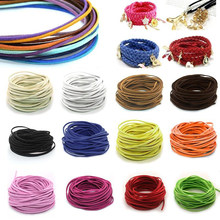 3mm Flat Faux Suede Braided Cord Korean Velvet Leather DIY Handmade Beading Bracelet Jewelry Making Thread String Rope(China)
