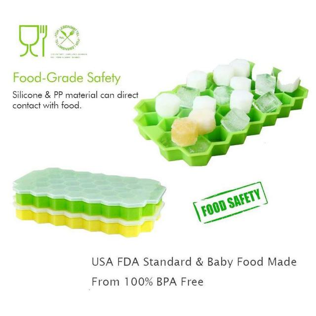 37Cubes Honeycomb Ice Cube Maker DIY Frozen Ice Tray Mold Silicone Kitchen Tool