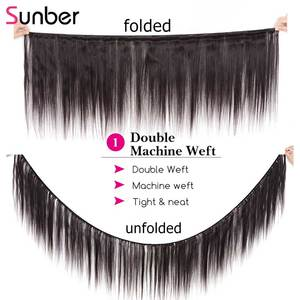 Image 2 - Прямые волосы Sunber, перуанские прямые волосы, 3 шт., высокое соотношение, волосы Реми, натуральный черный цвет, двойной уток 8  30 дюймов, можно повредить
