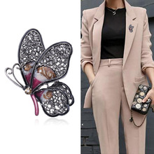 Butterfly Brooches Crystal Jewelry Fashion-Gun Personality Women Big JUJIE for Wholesale