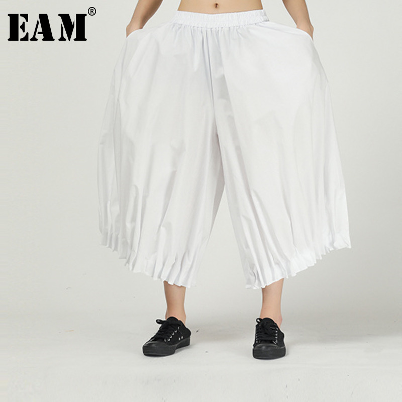[EAM] High Elastic Waist White Pleated Split Long Wide Leg Trousers New Loose Fit Pants Women Fashion Spring Autumn 2020 1R055