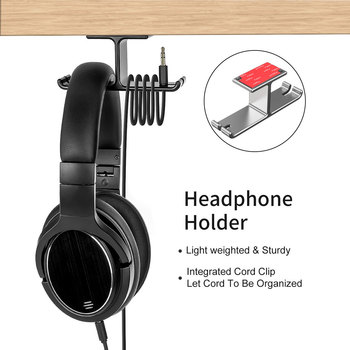 Stable Stand Storage Desk Headset Hanger Portable Double Hook Design Aluminum Alloy Multifunction Headphone Holder Head-mounted image