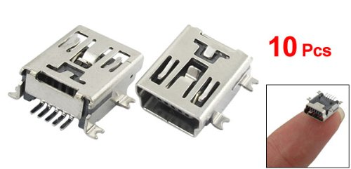 SODIAL(R) <font><b>10</b></font> x <font><b>Mini</b></font> <font><b>USB</b></font> 5 <font><b>Pin</b></font> Socket Female Solder Plug Adaptor <font><b>Connector</b></font> image