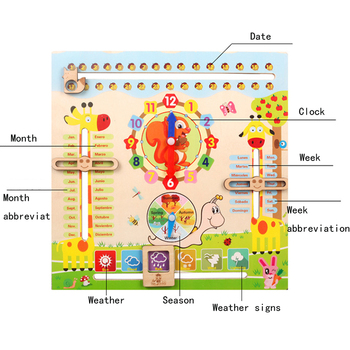 Wooden Montessori Toys Kids Cognitive Calendar Weather Time Season Early Learning Clock Preschool Educational  Teaching Aids children s wooden toys enlightenment early education learning card english spelling cognitive puzzle montessori teaching aids