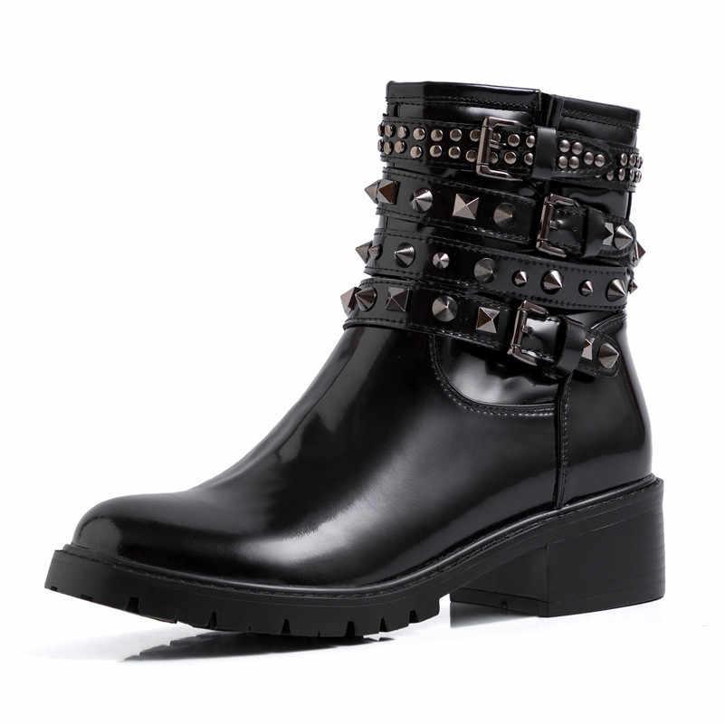 Meotina Thu Xe Máy Phụ Nữ Bằng Sáng Chế Dây Kéo Da Dày Gót Ống Giày Đinh Tán Khóa Mũi Tròn Giày Nữ Size 34 -39