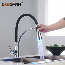 Modern Chrome LED Kitchen Faucets with Rubber 2 Water Modes Faucet Single Handle Pull Down Deck Mounted Sink Mixer Tap N22-018 все цены