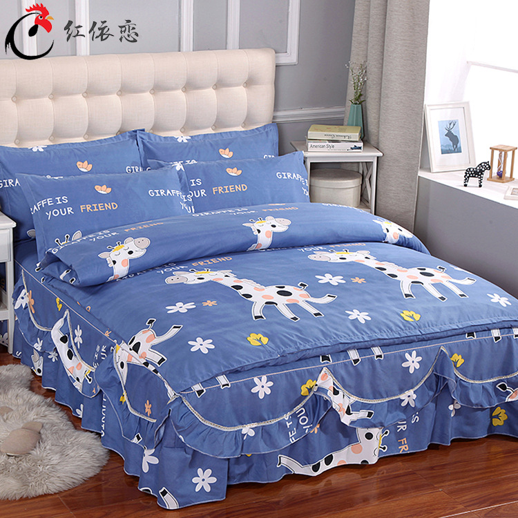 New Style Not Balling Up Does Not Fade Four-piece Set Brushed Twill Bedspread Chuang Qun Shi Kit