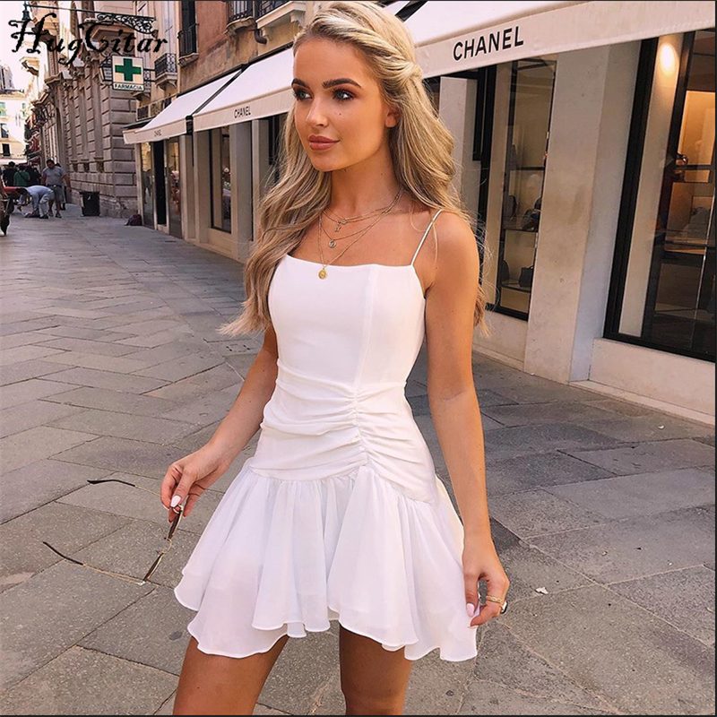 Hugcitar 2019 ruched ruffles sleeveless sexy slip mini dress autumn winter women white black pure party Christmas outfits