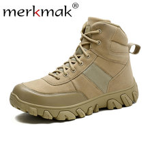 Merkmak Mannen Lederen Laarzen Hoge Kwaliteit Militaire Enkellaarsjes Force Tactical Desert Combat mannen Laarzen Outdoor Wandelschoenen Man(China)