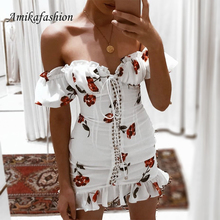 Women Summer Dress 2019 Lace Up Strapless Off The Shoulder Sexy Dress Short Sleeve Holiday Floral Print Ruffle Beach Dress White off the shoulder lace up dress