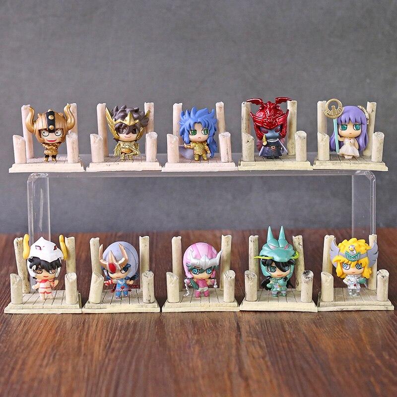 Saint Seiya Shun Shiryu Seiya Hyoga Ikki Saori Kido Shaka Camus Shura Saga Mini Desktop Figures Toys 7pcs/set