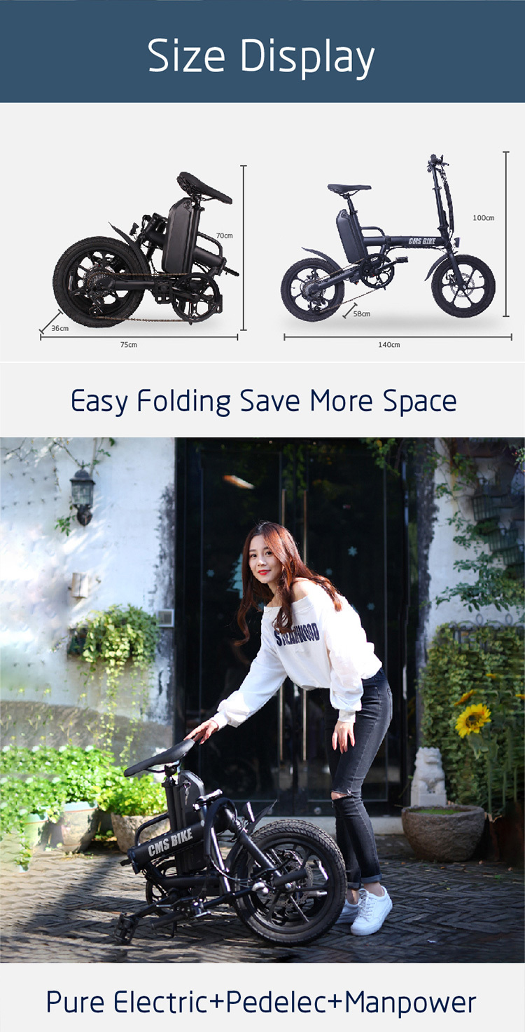 "16"" folding variable speed city folding ebike with aluminium alloy frame 2"