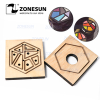 ZONESUN Leather Tangram Cup Mat Flower Customized Leather Cutting Die Handicraft Tool Punch Cutter Mold Diy Paper Laser Knife