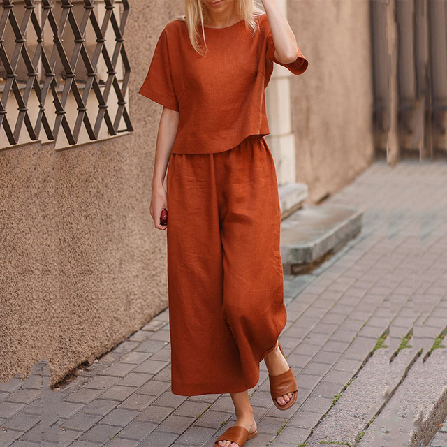 Elegant Short Sleeve Outfit Women Solid Cotton Linen Two Piece Sets Casual O Neck Tops + Wide Leg Pants Suits 4