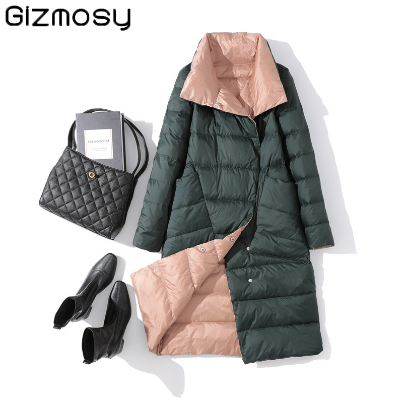 Gizmosy Women Double Sided Down Jacket Winter Turtleneck White Duck Down Coat Double Breasted Warm Padded Parkas Snow Long coat|Down Coats| - AliExpress